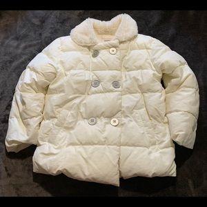 Child's cream puffer coat. Fur lining w/pockets